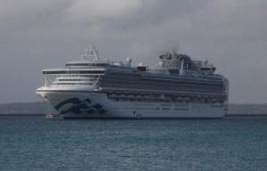 北防波堤沖に停泊するクルーズ船=19日、平良港